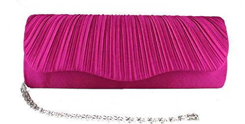 Wedding Clutch Evening ROSE Bag Chain Satin Diamante PLAIN Handbag T7qvHH