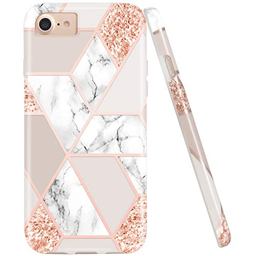 JIAXIUFEN Sparkle Glitter Shiny Rose Gold Metallic Marble Desgin Slim Shockproof Flexible Bumper TPU Soft Case Rubber Silicone Cover Phone Case for iPhone 7 / iPhone 8 / iPhone 6 6S ()