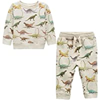 Koupa Kid's 2-Piece All Over Printing Dinosaur Set Little Boys' Long Sleeve Sweatershirt and Pants Set(18 Months-6 Years)