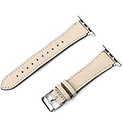 Hunputa Genuine Leather Replacement iwatch Band with Secure Metal Clasp Buckle for Apple Watch 42mm (E)