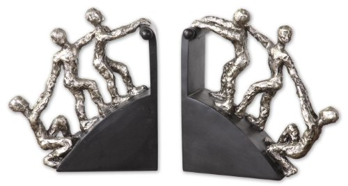 Uttermost Helping Hand Nickel Bookends, Set/2 with Nickel Plated Finish With Matte Black Base