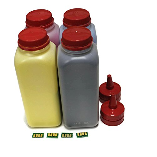 TM-toner © Compatible 4 color Toner refill kit with reset chip black,magenta,yellow,cyan for Ricoh Aficio SP C252SF, SP C252DN printer refill 407653, 407654, 407655, 407656 ()