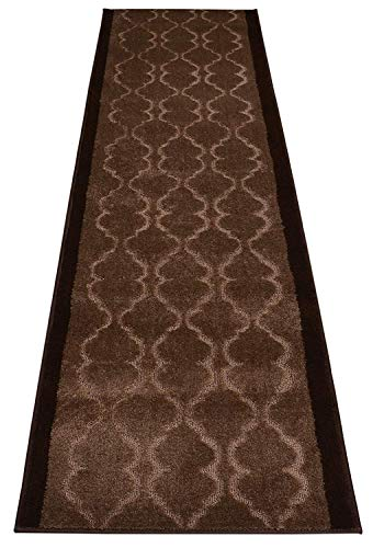 RugStylesOnline Custom Size Runner Trellis Brown Design Roll Runner 26 Inch Wide x Your Length Size Choice Slip Skid Resistant Rubber Back Euro Collection (Brown, 37 ft x 26 in)