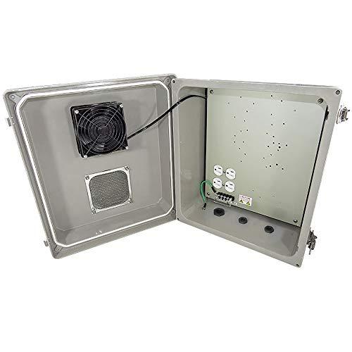 - Altelix 14x12x8 Fiberglass Vented Weatherproof NEMA Enclosure with Cooling Fan and 120 VAC Power Outlet