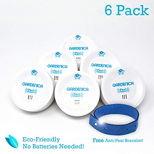 Ultrasonic Pest Repeller 6 Pack - Fast Acting Spider, Mouse, Ant, Bug, Mosquito Repellent   Quiet Indoor Wall Plug In Pest Control   Safe, Non-Toxic Electronic Repeller with BONUS Mosquito Bracelet