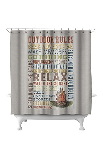 Adirondack Mountains, New York - Outdoor Rules - Rustic Typography (71x74 Polyester Shower Curtain) (Barn Outdoor Curtains Pottery)