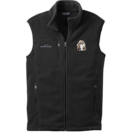 Cherrybrook Dog Breed Embroidered Mens Eddie Bauer Vest - Medium - Black - Shih Tzu
