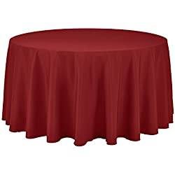 Remedios 108-inch Round Polyester Tablecloth Table Cover - Wedding Restaurant Party Banquet Decoration, Red