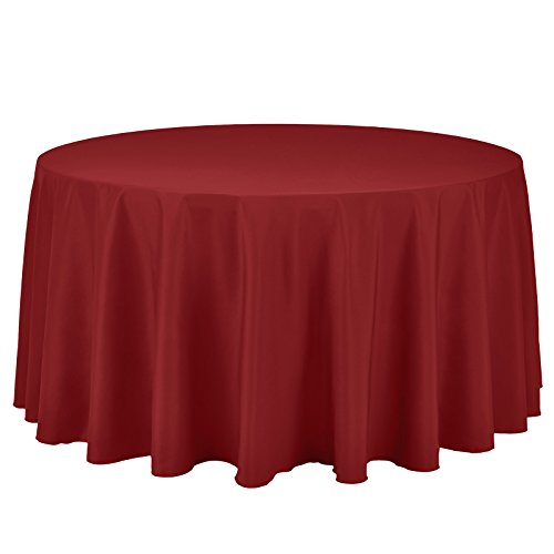 VEEYOO Round Tablecloth 100% Polyester Circular Bridal Shower Table Cloth - Solid Soft Dinner Table Cover for Wedding Party Restaurant (Red, 120 inch)