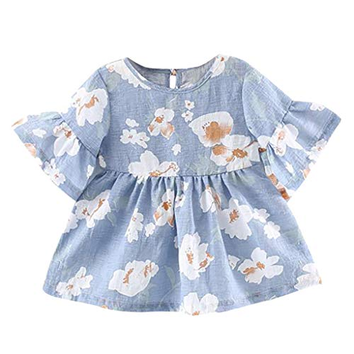 After Six Empire Waist Bridesmaid Dress - LiLiMeng 2019 New Infant Baby Girls Flare Sleeve Flower Floral Print Bow Princess Ruched Dress Casual Clothes Blue