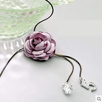 Metal Color: Pink Davitu Vintage Pink Crystal Flower Long Necklace Women Davitu Fashion Sweater Necklaces /& Pendants Jewelry Accessories