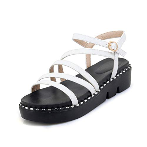 BEOTARU Women Fashion Flat Sandals Summer Open Toe Slip On Comfortable Non-Slip Shockproof Platform Sandal]()