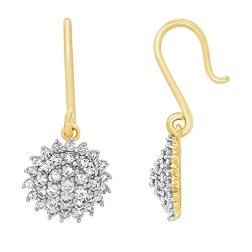 0.50 cttw Diamond Cluster Dangling Earrings in 10k Gold by EternalDia