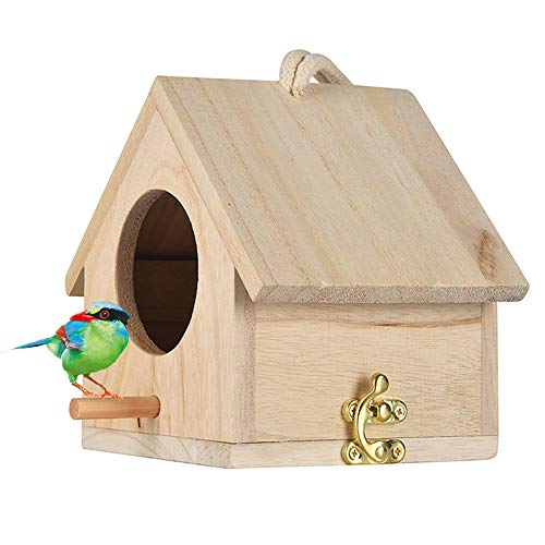 Tfwadmx Wooden Bird House, Hanging Birdhouse for Outside, Garden Patio Decorative Nest Box Bird House for Wren Swallow Sparrow Hummingbird Finch Throstle