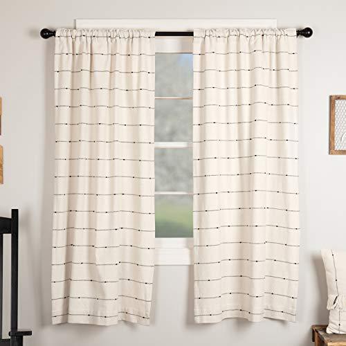 Black Curtain Natural - Piper Classics Farmcloth Stripe Panel Curtains, Set of 2, 63