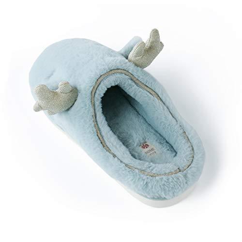 Warm Winter Memory Blue OKSOO Slip Comfort Slipper Women's Deer Slippers Foam Light xwq0YRfq