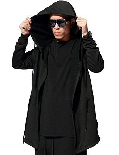 Modfine Men's Outwear Jacket Hipster Hip Hop Full Zip-Up Pullover Plus Long...