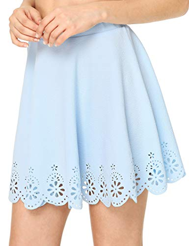 SheIn Women's Basic Solid Flared Mini Skater Skirt XX-Large Light Blue