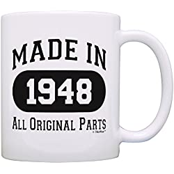 70th Birthday Gift Made 1948 70th Birthday Party Decorations Gift Coffee Mug Tea Cup White