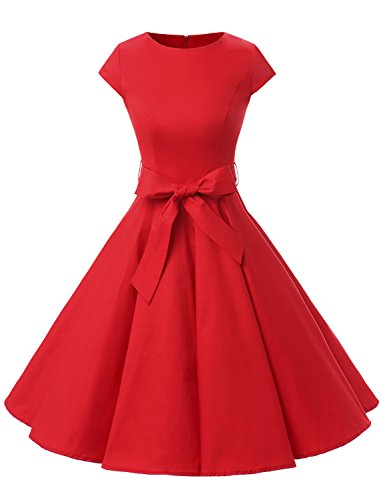 Dressystar DS1956 Women Vintage 1950s Retro Rockabilly Prom Dresses Cap-Sleeve S Red -