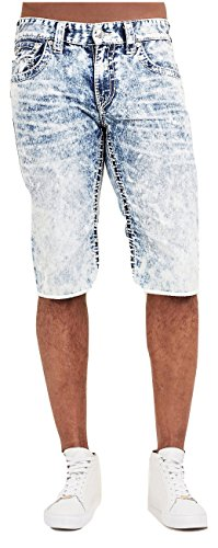True Religion Men's Straight Big T Cut-Off Short w/ Flaps in Summer Melody (38) by True Religion