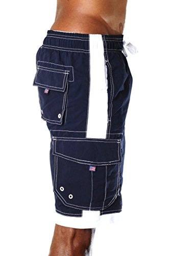 Alki'i Men's Boardshorts - Solid Colors Team USA, X-Large, Navy by Alki'i