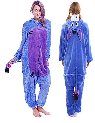 (Unisex Adult Eeyore Onesie Pajamas Plush One Piece Animal Cosplay Costume for Women Men)
