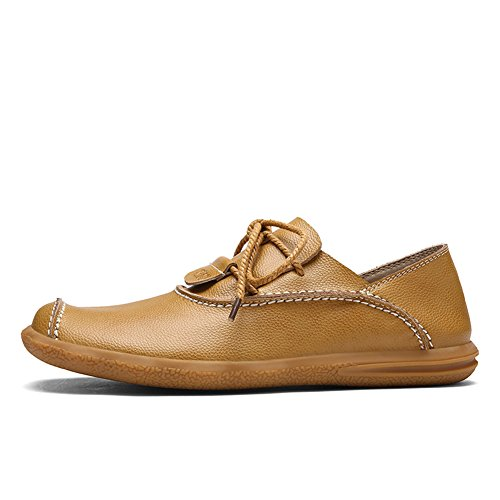 Mens Casual Cowhide Leather Soft Flat Shoes Handwork Cap-Toe Lace-up Low-Cut Loafers Golden Yellow LKEI0Tpk