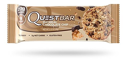 Quest Nutrition Protein Bar, Oatmeal Chocolate Chip, 20g Protein, 5g Net Carbs, 190 Cals, Low Carb, Gluten Free, Soy Free, 2.12oz Bar, 12 Count
