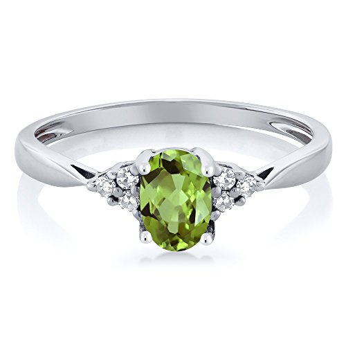 14K White Gold Green Peridot and Diamond Women's Ring 0.56 cttw, Available in size (5,6,7,8,9)
