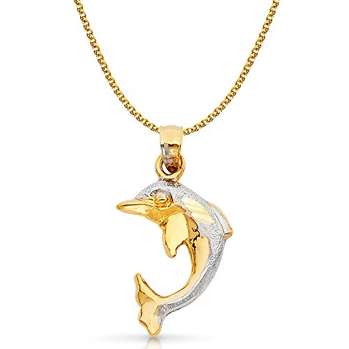14K Two Tone Gold Dolphin Charm Pendant with 1.7mm Flat Open Wheat Chain Necklace - 18