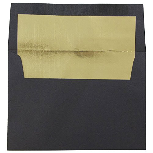 JAM Paper A6 Foil Lined Envelopes - 4 3/4 x 6 1/2 - Black Linen with Gold Foil Lining - 25/pack