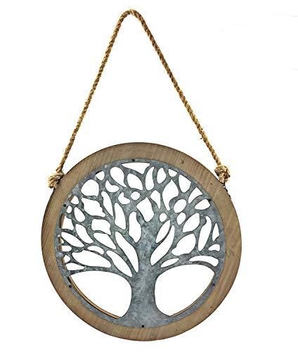 Bellaa 23905 Tree of Life Wood Metal Wall Art Galvanised 24 inch (Tree Wall Decor)