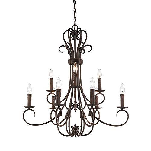 (Golden Lighting 8606-CN9 RBZ Homestead Nine Light Candelabra Chandelier, Rubbed Bronze Finish)
