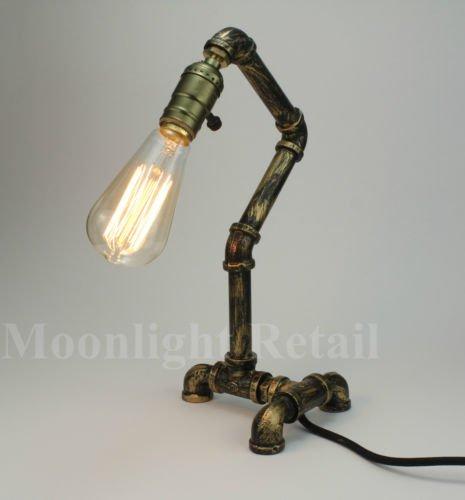 edison table lamp vintage home lighting. Vintage Industrial Retro Style Steel Pipe Desk Table Lamp Light Edison Steampunk (BRONZE) Home Lighting N