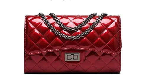 b2138376a324 Coco Chanel-Like Shoulder Bag Handbag Quilted Patent Leather Double Flap  Chain Strap