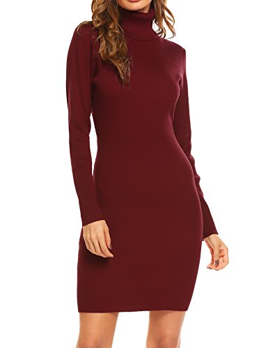 OD'lover Women Turtleneck Sweater Dresses Knit Bodycon Ladies Long Sleeve Sweater Dresses