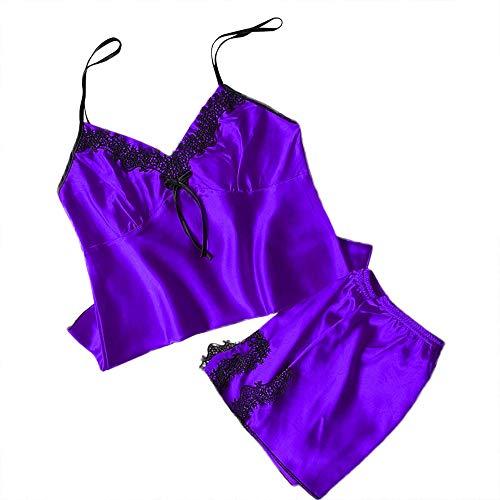 - Women Plus Size Sleepwear Sleeveless Strap Nightwear Lace Trim Satin Cami Top Pajama Sets Boyshort Short Top