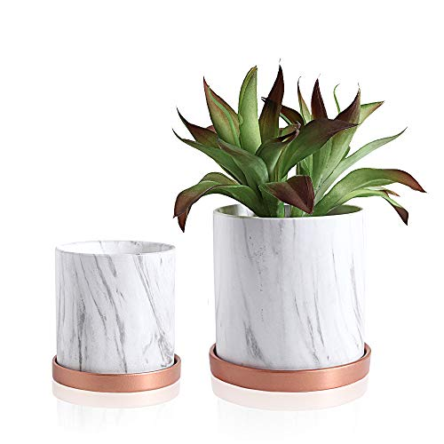 Smoofy Round, White Marble Ceramic Planter, 5.5 Inch and 4.3 Inch Plant Pots for Flower, Cactus, Succulent Planter, Garden, Flower Pots with Drainage Hole and Plant Saucers, Set of 2