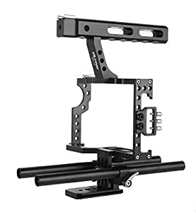 VILTROX VX-11 DSLR Rod Rig Camera Video Cage Kit & Handle Grip f. Sony A7 A7II A7r A7s II A6500 A6300, Panasonic GH4 GH3 to Mount Microphone,Monitor,Video LED Light,Follow Focus
