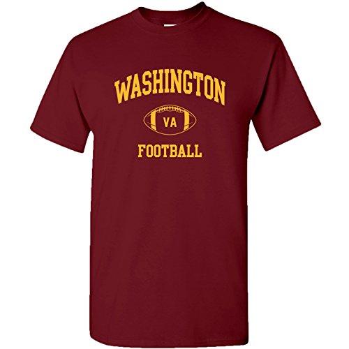 Washington Classic Football Arch Basic Cotton T-Shirt - Medium - Garnet (Redskins T-shirt Football)