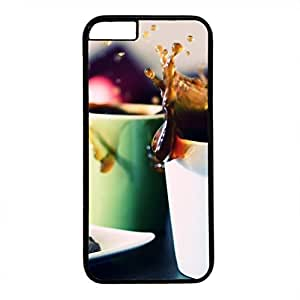 Hard Back Cover Case for iphone 6,Cool Fashion Black PC Shell Skin for iphone 6 with Tea Cups Splash