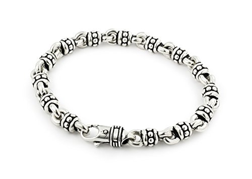Twisted Blade 925 Sterling Silver Large Studded Link Bracelet 8'' by Buy For Less
