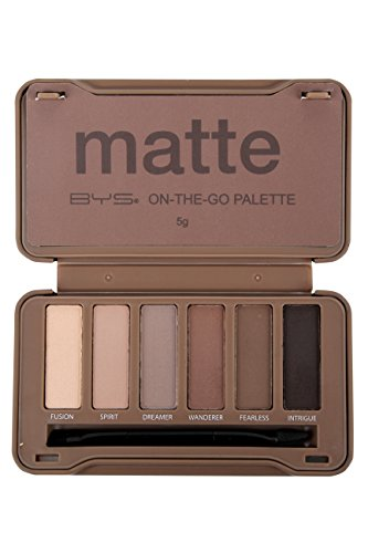 BYS On-The-Go Eyeshadow Palette,Six Shades with Mirror and Applicator, Matte