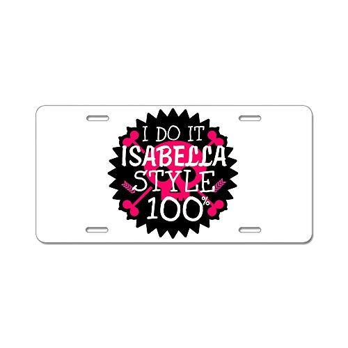 AhuiA-Isabella Style Custom Personalized Aluminum Metal License Plate Cover Front Auto Car Accessories Vanity Tag- 6x12 Inches -