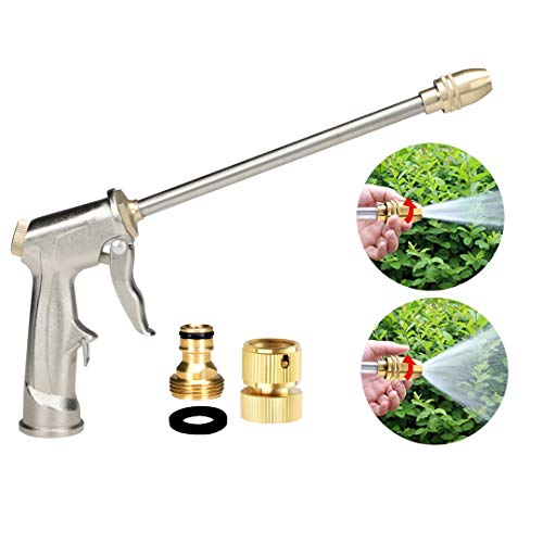 Garden Hose Nozzle, Heavy Duty Metal Spray Gun, Brass Nozzle, Rotaing Water Adjustmen Nozzle, High Pressure Sprayer for Watering,Car Wash and Pets Shower