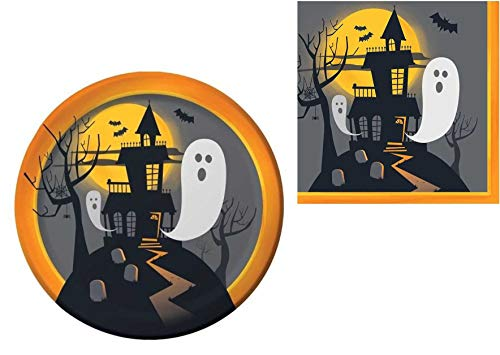 (Haunted Halloween Party Supplies – Serves 8 – Includes Dinner Plates and Luncheon Napkins Party Pack for Spooky Halloween Themed)