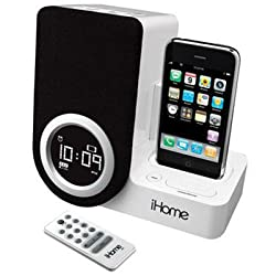 iHome iP41 Rotating Alarm Clock for iPod and iPhone with Remote Control (White)