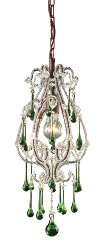 Elk 12013/1LM Opulence 1-Light Pendant In Rust And Lime Crystals
