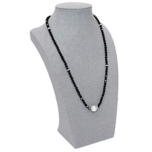 Ikee Design Gray Fabric Covered Linen Necklace Jewelry Accessory Display Bust 8W x 5D x 13 1/2H, SOLD BY EACH